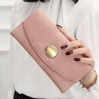 New Fashion women's purse Lady Women High Capacity Leather Clutch Wallet Long Card Wallet portefeuille femme 2017 Free Shipping