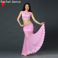 New Arrival Belly Dance Long Skirt 2 Piece Lace Dress Sexy Dancer Practice Costume Set For Oriental Dance Costumes Gypsy Skirt