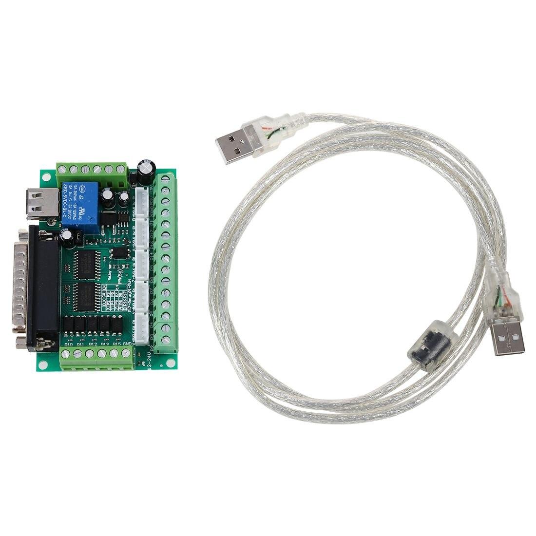 Actualizado 5 ejes CNC Breakout junta para Stepper Motor Driver Mach3 + Cable USB
