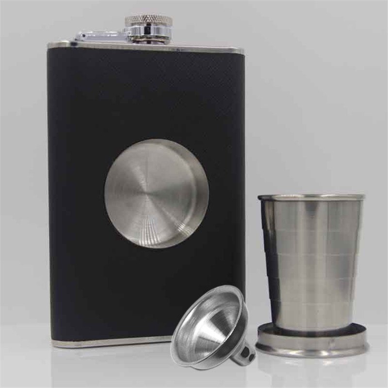 8oz Flagon Hip Flask Wine Pot Whiskey Stainless Steel Folding Cup Leak Proof Barware Drink Alcohol Whiskey Outdoor Wine Funnel
