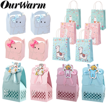 OurWarm Cute Paper Candy Bag Boy Girl Baptism Baby Shower Llama Elephant Gift Box Pink Blue Birthday Party Bags Kawaii