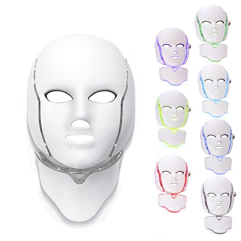 Светодиодный свет фотона маска 7 цветов светолечение омоложения кожи, отбеливание морщин, уход за кожей угорь лица Красота