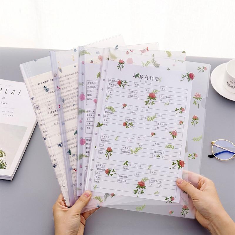 Cute Flower File Folder Creative Transparent Folder Filing Product Office Supplies Business Documents Storage Exam Paper Holder