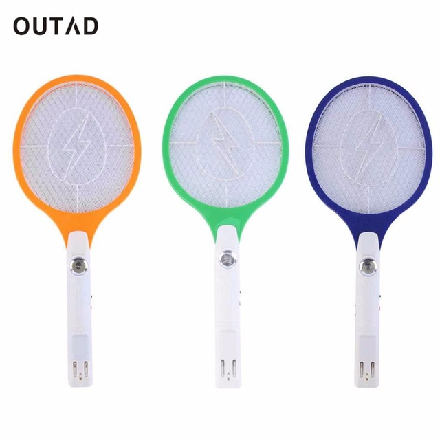 OUTAD 1pcs Rechargeable LED Electric Insect Bug Fly Mosquito Zapper Swatter Killer Racket 3-layer Net Safe