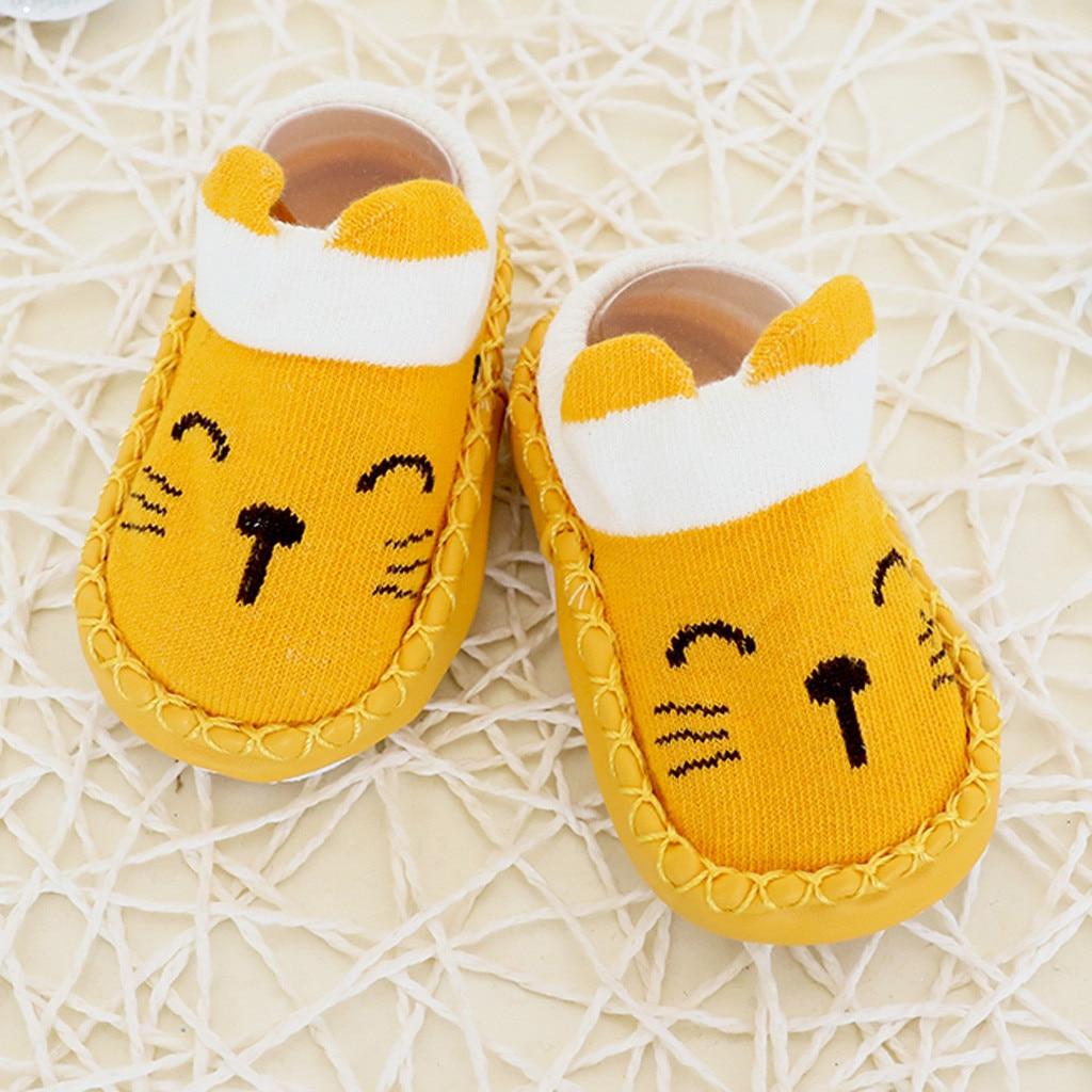 Newborn Baby Floor Socks,Kids Infant Toddler Boys Girls Cartoon Print Anti-Slip Knitted Boots Socks Fleece Slipper Socks Step Shoes 0-1 Years Old