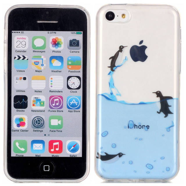 brand new 38f7b 17eca US $2.29 |For IPhone 5C Silicone Case Transparent Cute Animal Flower Back  Cover Soft TPU Skin Case for Apple iPhone 5C 4.0