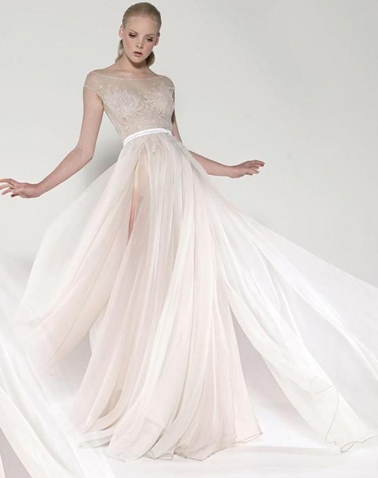 5ca86c8104 2018 paolo sebastian sheer chiffon beach wedding dresses high a