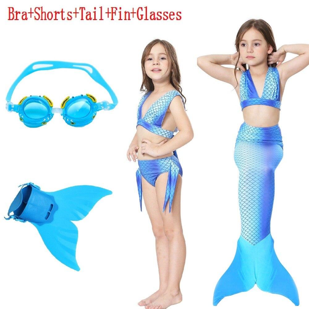 Mermaid tail Summer Adult Children/Kids With Monofin Swimable Women Girls Swimsuit Cosplay Tail+Swimming goggles Set Swimwear