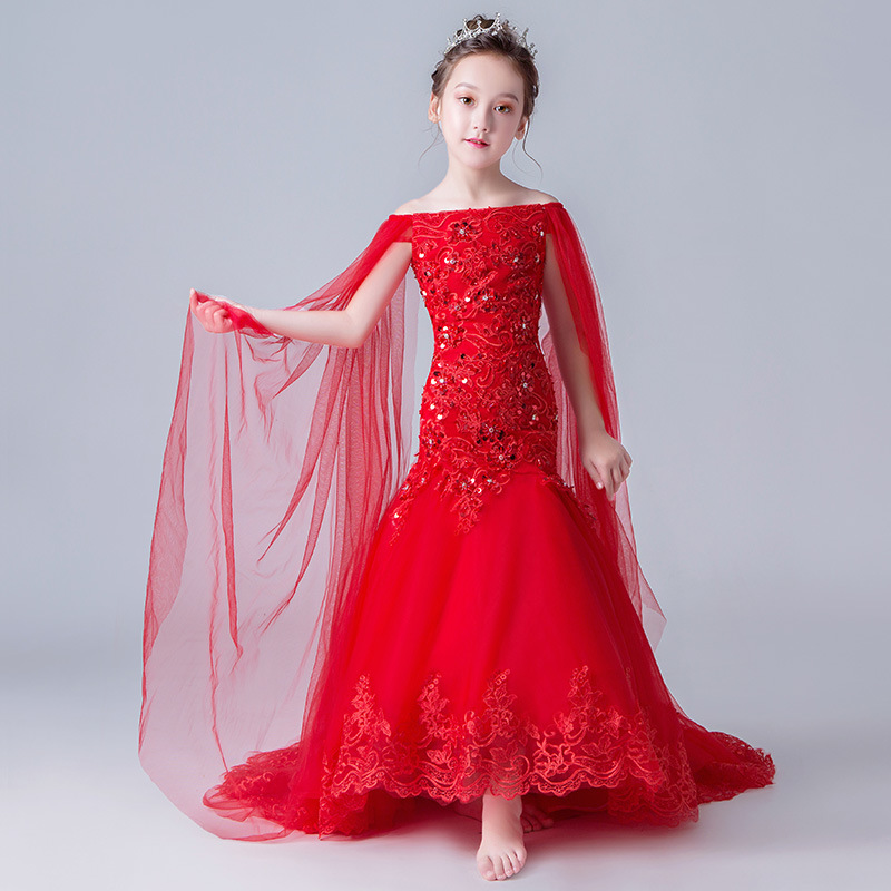 Red Mermaid Off Shoulder Flower Girl Dresses for Wedding Long Trailing Lace Up Evening Gowns Sequined Princess Birthday Dress