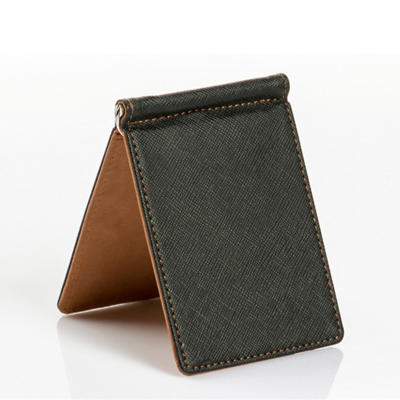 07f706d3e5968 Leather Men Money Clip Wallet Solid Male Purses Designer Clip Cash Holder  Card Cases Fashion Slim Wallet ID Credit Card Case-in Money Clips from ...
