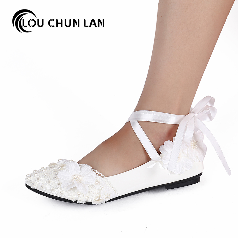 Women Shoes Adults Flats Bling rhinestone flat lace wedding shoes rhinestone bride bridesmaid shoes white large size 41 52