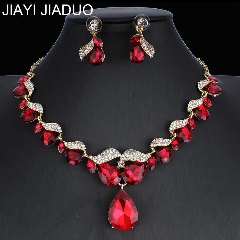 jiayijiaduo Bridal Wedding Jewelry Set / Crystal Necklace Earrings Set 3 Colors for Women's Wedding Jewelry  NE+EA