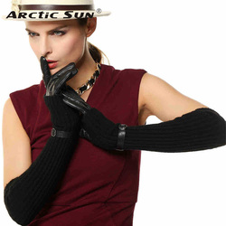 Women Gloves New 2020 Top Fashion Two Pieces Wrist Genuine Leather Glove + Knitted Arm Sleeve Thermal Winter Driving L137NN