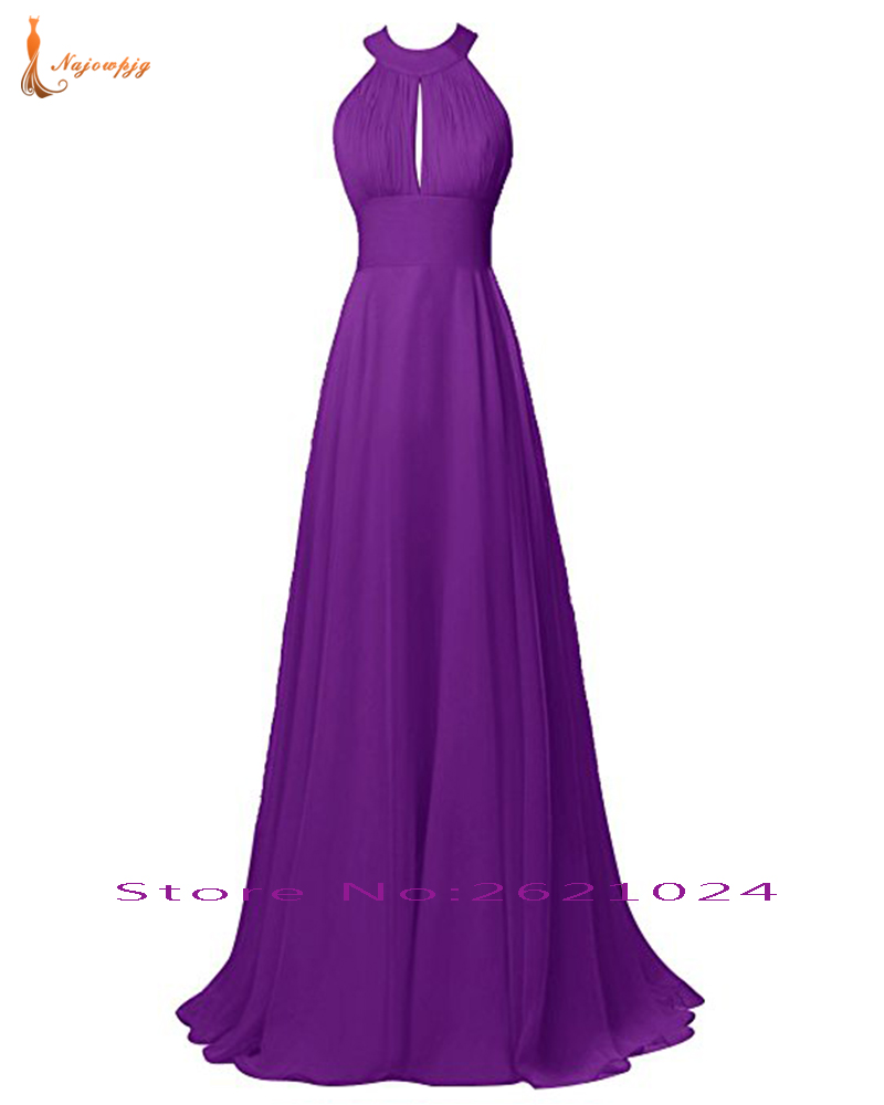 Najowpjg Sexy Open Back Pleat Long Chiffon Navy Blue White Burgundy Coral Pink Black Purple More Color Choose Bridesmaid Dresses