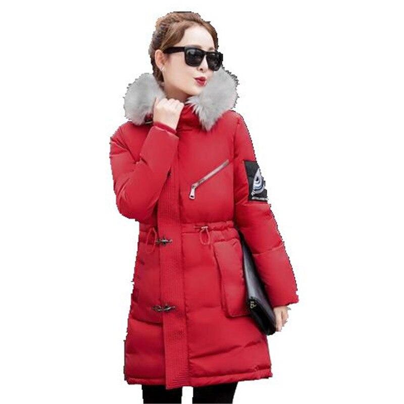 2016 Fashion Winter Down Cotton Jacket Women Thicken Big Fur Collar Padded Jacket Hooded Long Coat Parka Warm Jacket Coat A2066