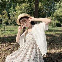 Nuovo Stile Coreano di estate Spiaggia Nappa a Prova di Sole Dei Vestiti di Aria Condizionata All-Fiammifero Del Merletto Delle Parti Superiori Del Vestito E Floreale Dolce vestito