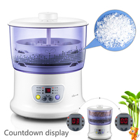 15% JA20 Multifunctional Homemade Sprout Bud Machine Home 2 Layer Automatic Intelligence Bean Sprouts Maker Food Grade PP