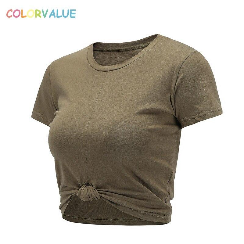 Colorvalue été Slim Fit o-cou Sport T-shirts femmes Kink conception Fitness entraînement haut court loisirs coton à manches courtes chemises