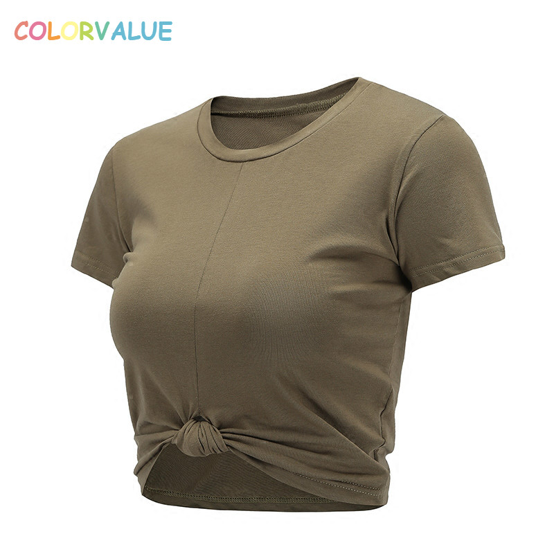 Colorvalue Summer Slim Fit O-neck Sport T-shirts Women Kink Design Fitness Workout Crop Top Leisure Cotton Short Sleeve Shirts trumpet sleeve knot hem crop top