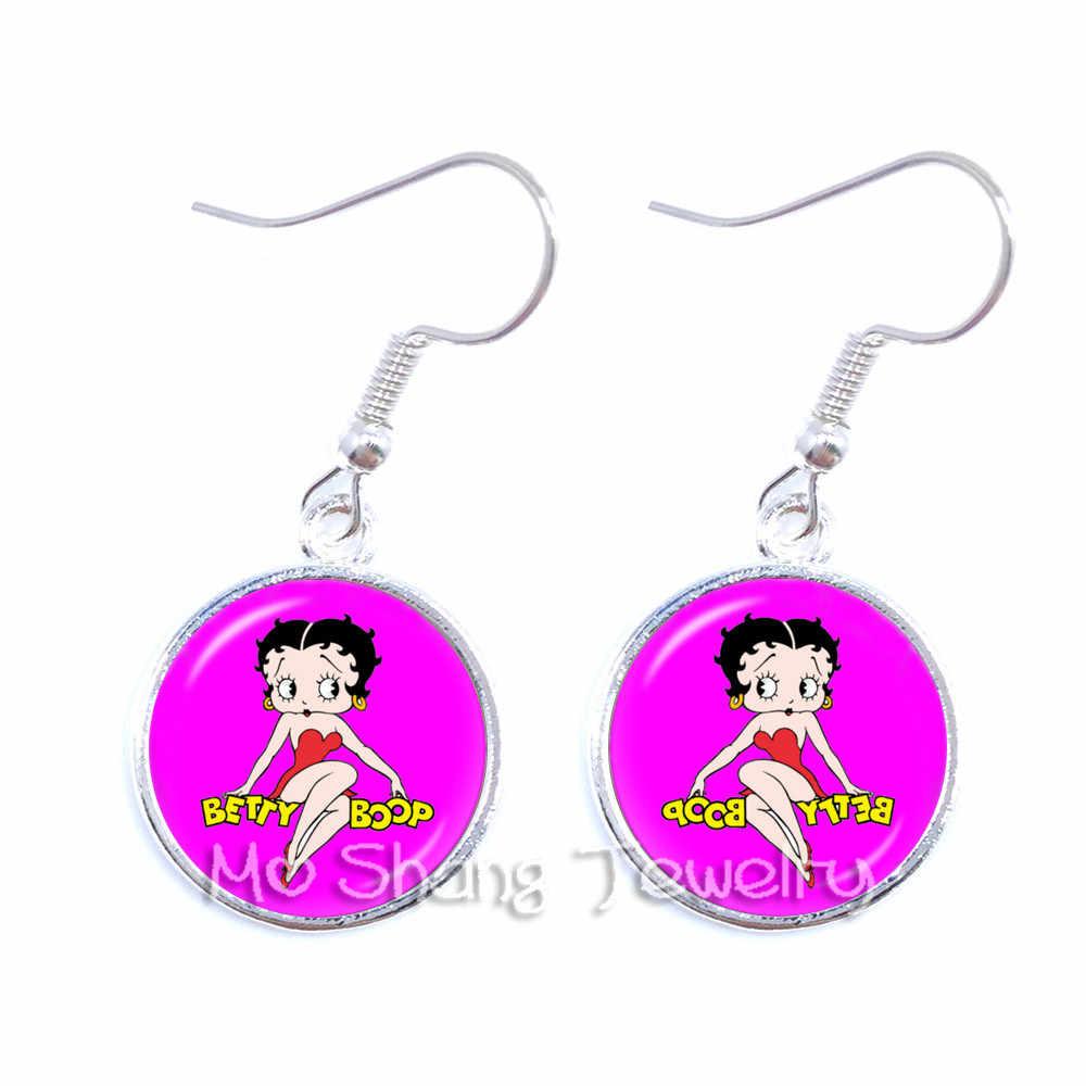 Betty Boop dynda kolczyk Harajuku śliczne Cartoon szkło Cabochon biżuteria moda kolczyki najlepsze prezenty dla kobiet dziewczyn