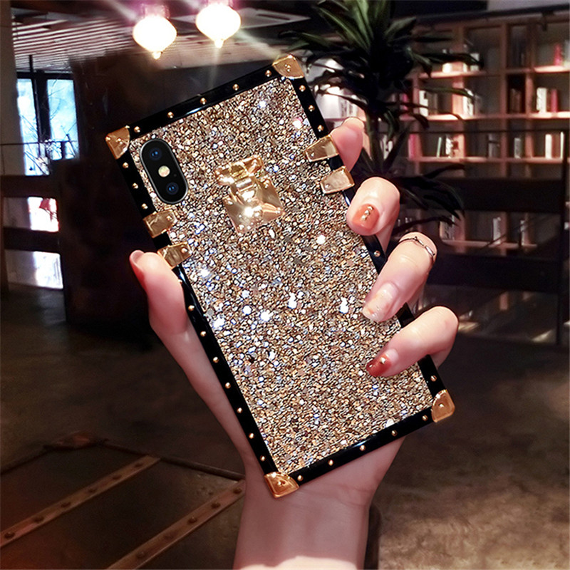 Rebite quadrado bling brilhante glitter caso em pó para iphone 11 pro xs max xr x 8 7 6 s plus samsung galaxy note 10 9 8 s10e/9/8 plus