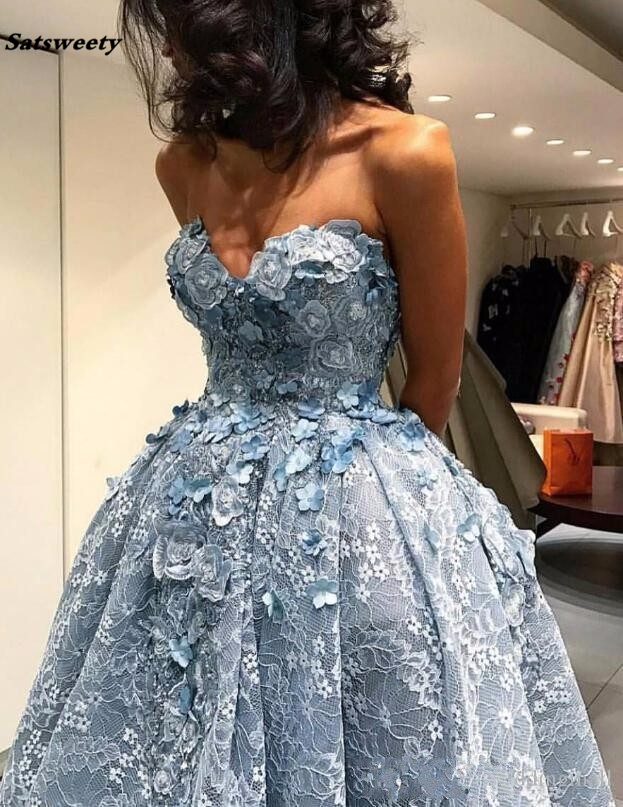 Satsweety 2019 Fashion High/Low Lace Short Elegant Light Blue Off the Shoulder Ball Gown Short bridal Party bridesmaid Dress
