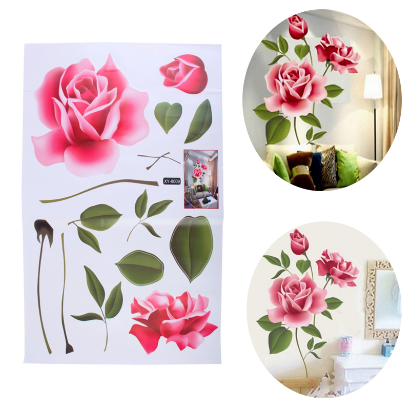 New stickers decoratifs maison romantic love rose flower removable 3d wall st - Stickers couloir maison ...