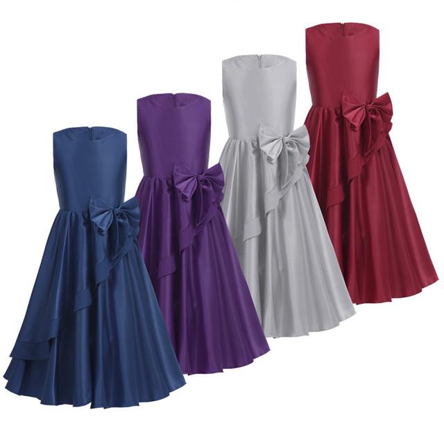 Bowknot Swing Satin Flower Girl Dress