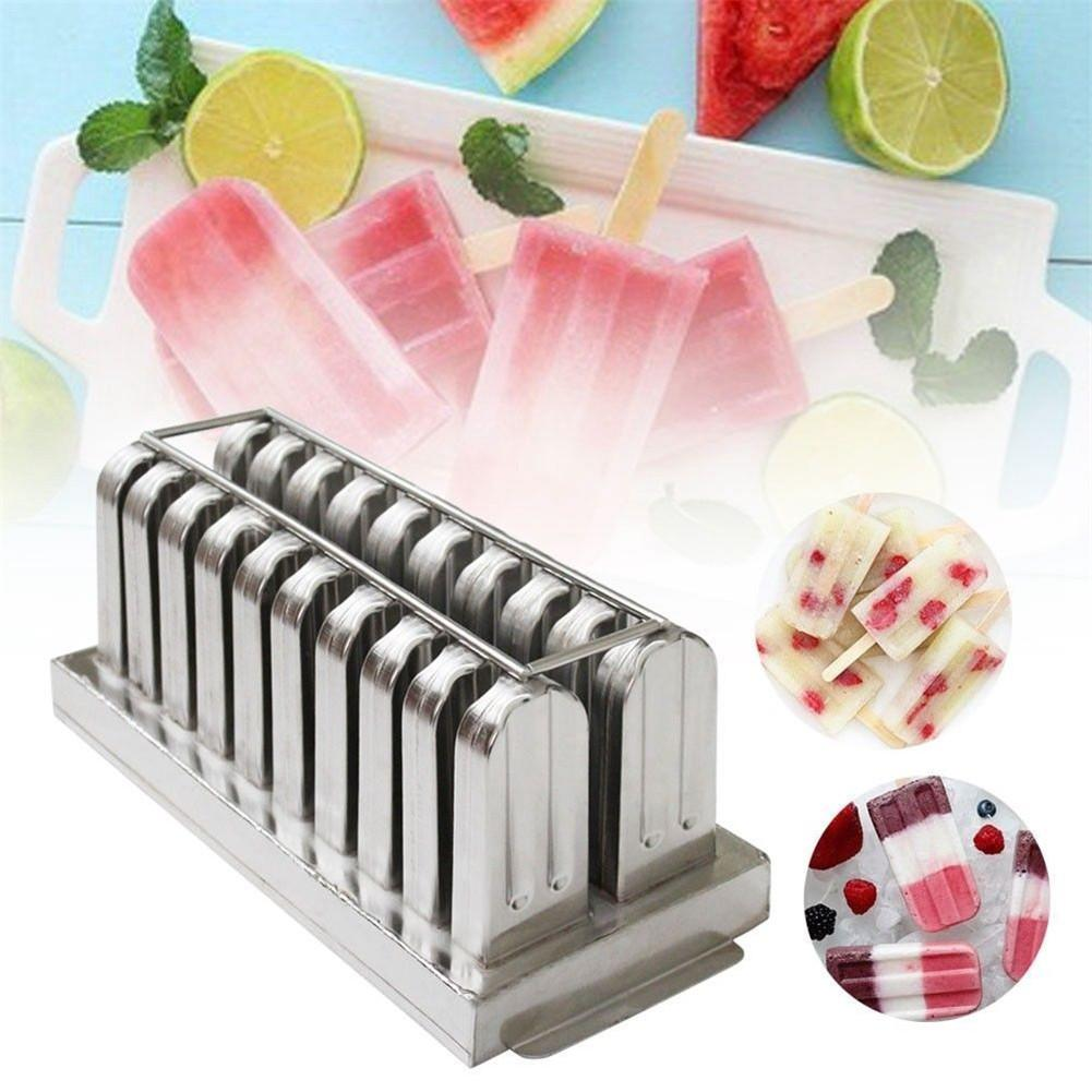 Frozen Stainless Steel Popsicle Molds Ice Cream Stick Holder 20 Molds Silver DIY Ice Cream Moulds Flat/Triangle Ice Pop Mould