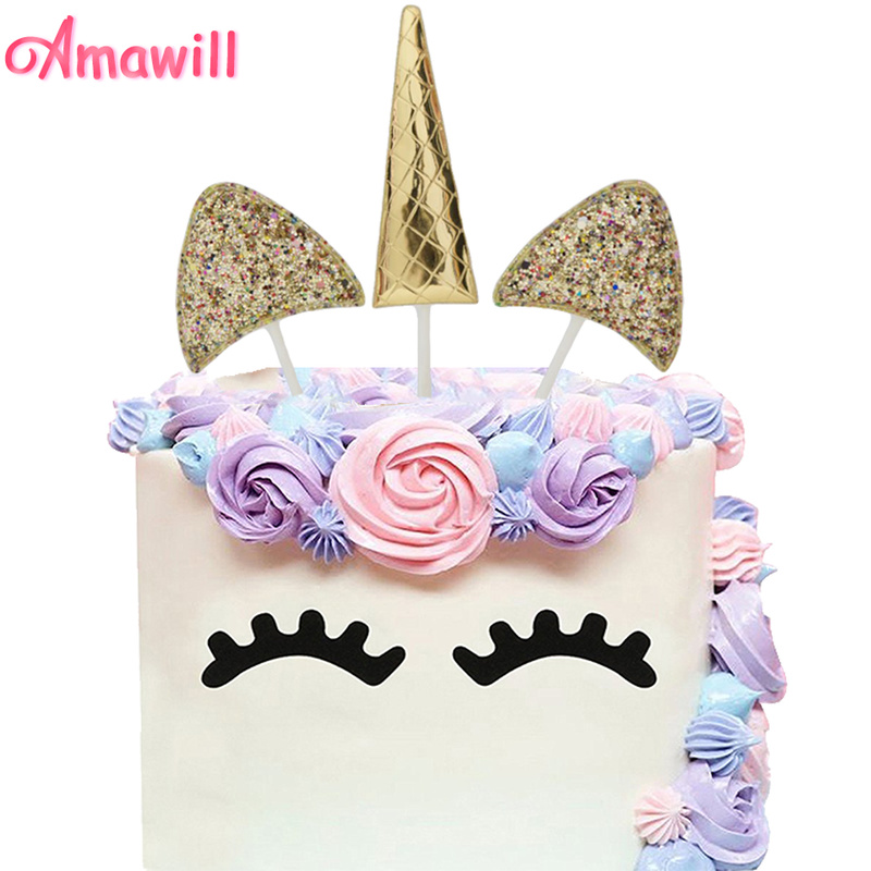 Amawill Gold Glitter Unicorn Horn Cake Topper for Baby