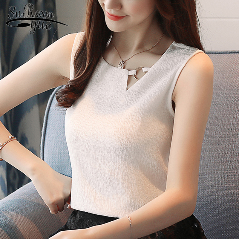 2019 Fashion chiffon women   blouse     shirt   sexy sleeveless women tops blusas chiffon   blouse   women   shirt   feminine   blouses   0266 40