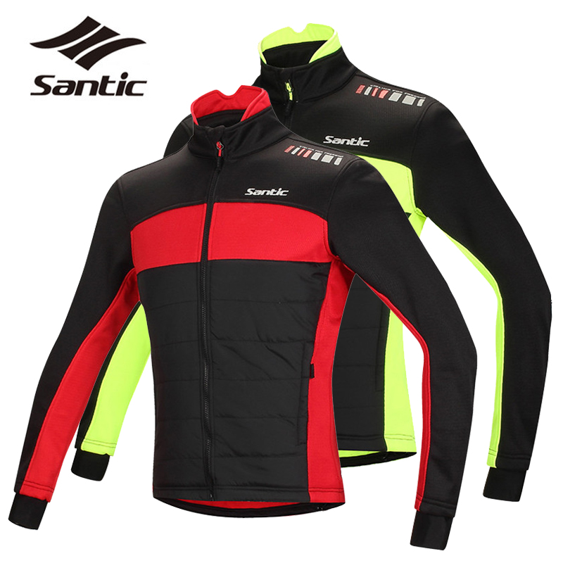 Santic Pro Men Cycling Jacket Winter Windproof Thermal Fleece Bike Jacket Cycle Clothing Bicycle Wind Jacket Coat Ropa Ciclismo цена