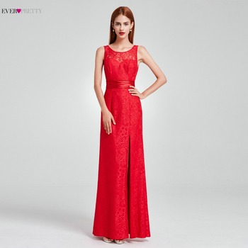[Clearance Sale ]Ever Pretty Red Prom Dresses Lace Sheath High Split Party Dress Long for Prom Gala vestido formatura EP08949