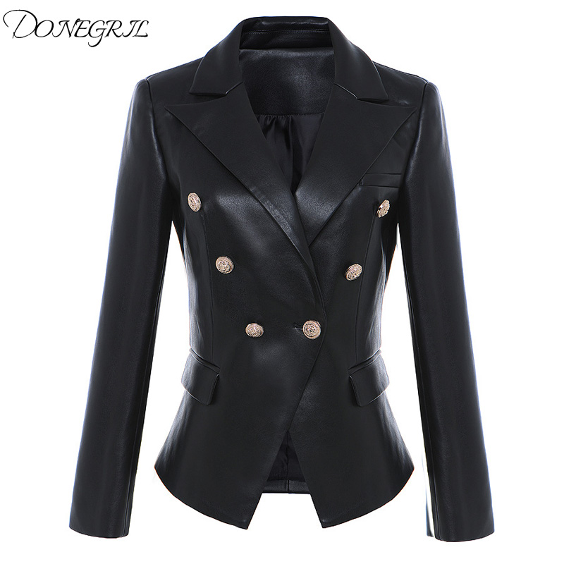 2017 autumn and winter new high quality synthetic   leather   double breasted body suit suit coat