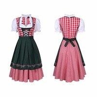 Womens Beer Costume Oktoberfest Halloween Party Maid Plaid Fancy Dress Plus Size