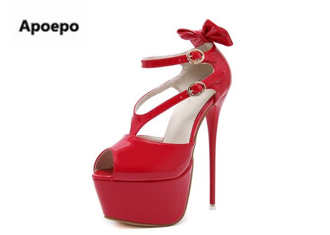 Apoepo brand gladiator sandals women red black Patent leather sexy summer pumps peep toe 16 cm high heels shoes women butterfly shoesofdream women s 2015 summer peep pointed toe red anke strap patent leahter sexy spike high heels