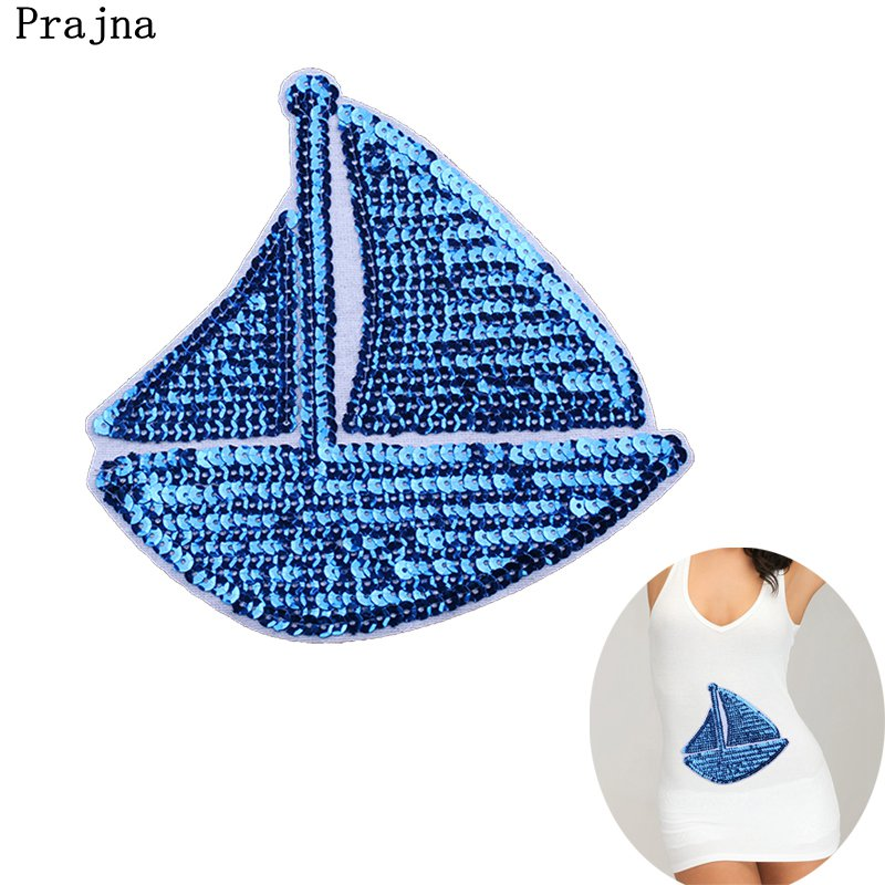 Prajna Sailboat Clothes Stickers Sequin Patch Shining Sew On Patches Bringling Jacket Accessories DIY T-shirt Dress Woman Cloth