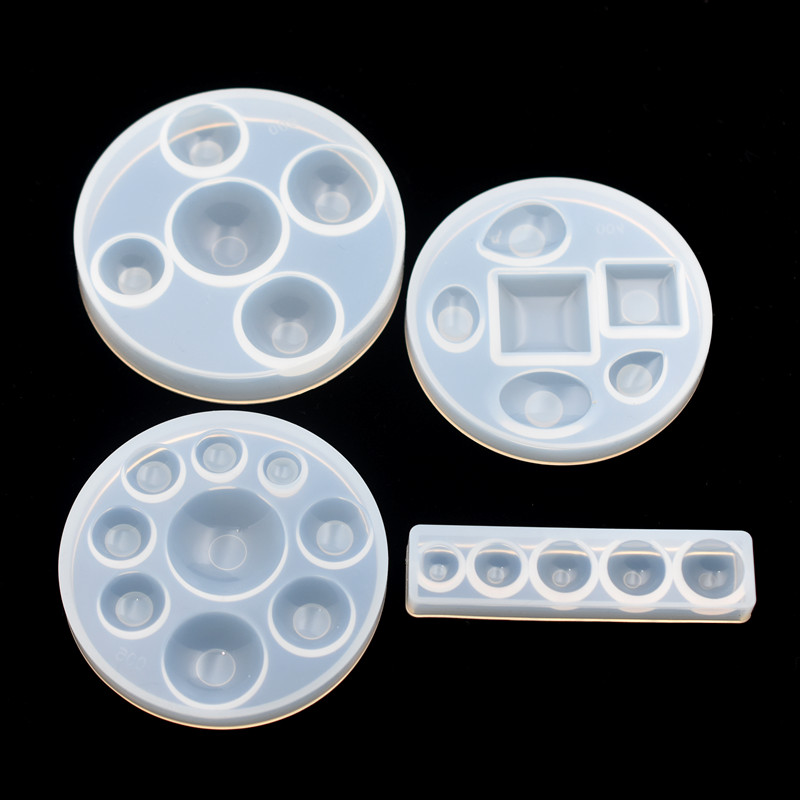 SNASAN 4pieces Silicone Mold Half Ball Oblate Cabochon Beads Resin Silicone Mould Handmade Tool Epoxy Resin Molds Jewelry Making