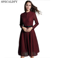 2018 European Fashion Red Lace Dress Women High Quality Sexy Hollow Out Evening Party Dresses Autumn