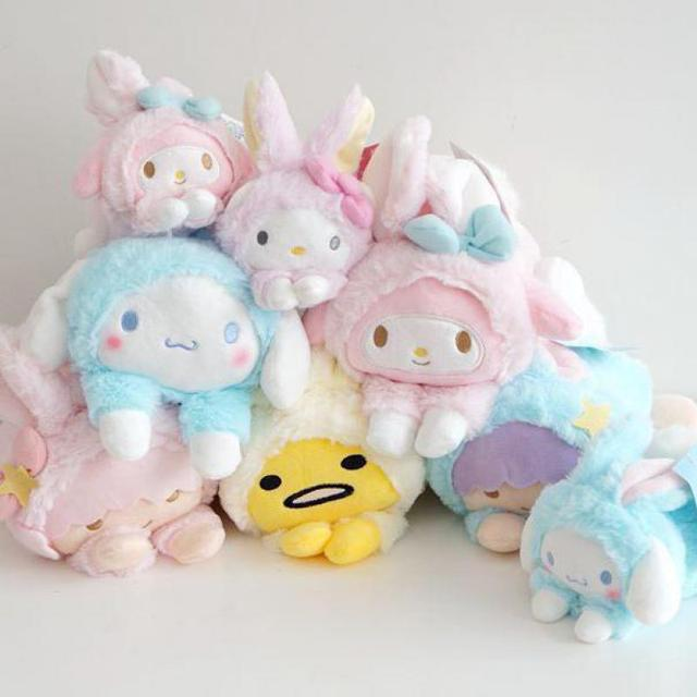 Cute Hello Kitty My Melody Big Ears Cinnamoroll Dog Egg Yolk Pudding Dog Frog Turned To Cats Rabbit Soft Plush Toys Dolls Gifts