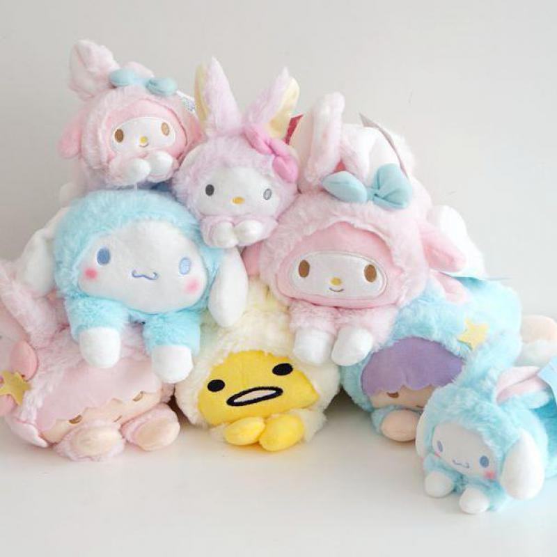 Cute My Melody Big Ears Cinnamoroll Dog Egg Yolk Pudding Dog Frog Turned To Cats Rabbit Soft Plush Toys Dolls For Girls Gifts