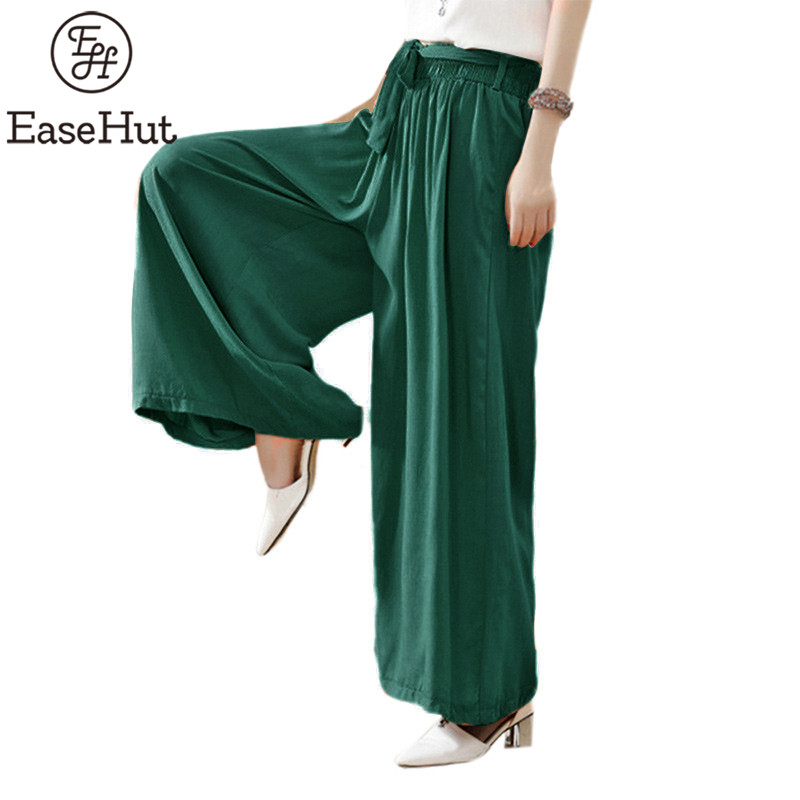 EaseHut 2019 Summer Women Casual Loose Wide Leg Pants Fashion Elastic Waist Trousers Casual Cotton Long Pants Plus Size S-5XL