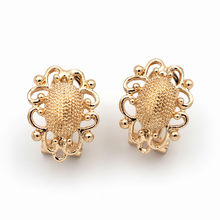 Stud Clip Earrings Post Filigree Oval Bases with Loop DIY Findings Accessories African Wedding Dubai Gold Color Jewelry Making(China)