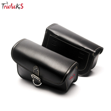 Triclicks Motorcycle PU Leather Tool Bag Left Right Luggage Bag Universal Saddlebag Saddle Bag For Harley Sportster XL 883 1200