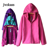 Jvzkass 2018 new Autumn and winter plus size women's clothing thickened hooded lamb velvet fleece clothing and fleece hoodie Z80