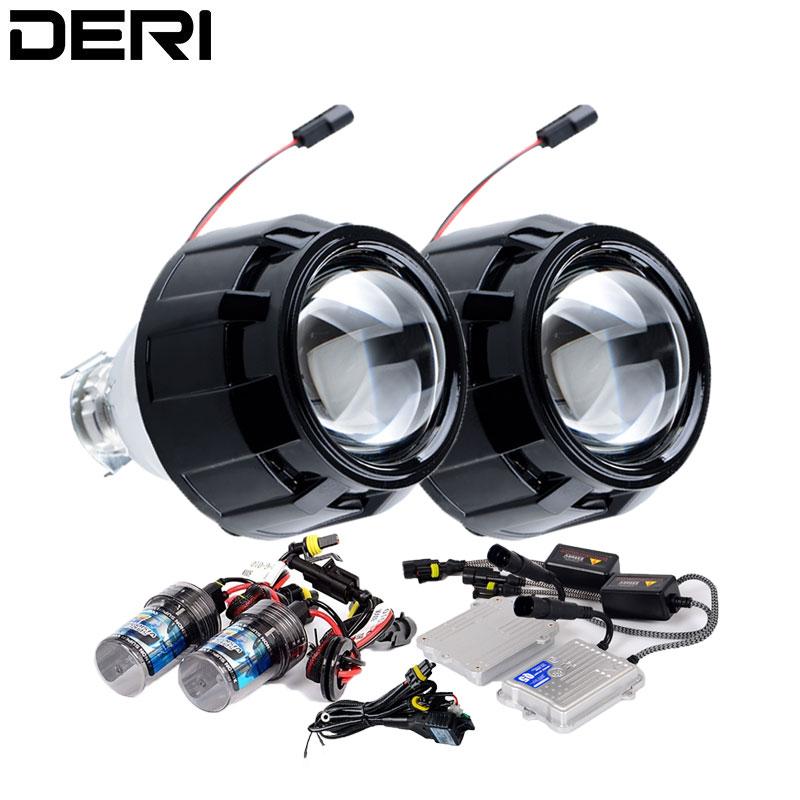 2.5 pouces noir HID Bi xénon projecteur lentille Kit de modification 55W AC démarrage rapide Ballast H1 lampe au xénon 4300K 6000K 8000K voiture style