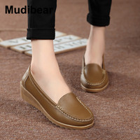 Mudibear Women's Genuine Leather Wedges Shoes Mother Moccasins Artificial Leather Women Shoes size 35~41 Causal Soft Woman's