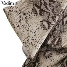 Vadim women snake print oversized dress V neck elastic waist split ladies summer loose mid calf chic dresses vestidos QA205