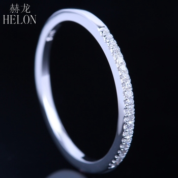 HELON Diamonds Band ! Pave 0.1Ct Real Natural Diamond Solid 10K White Gold Anniversary Wedding Band Women's Fine Jewelry image