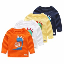 T-shirt For Boys Long Sleeve 100% Cotton Tops Cartoon Dinosaur  Clothing